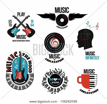 Set of musical logos and emblems.