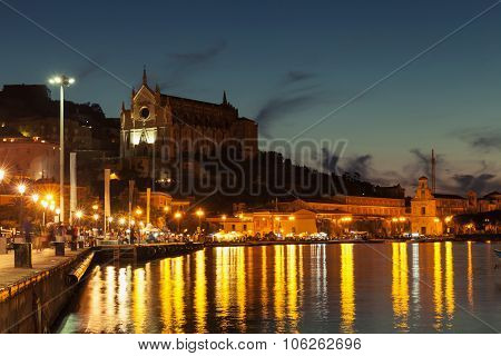 Night Cityscape Of Old Gaeta, Italy