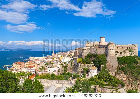 Landscape Of Old Town Gaeta With Castle, Italy