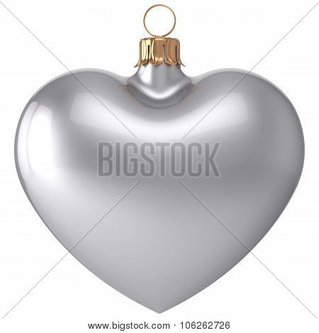 Christmas Ball Heart New Year's Eve Bauble Decoration White