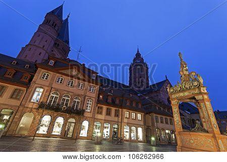 Mainzer Dom St.martin And Market Well