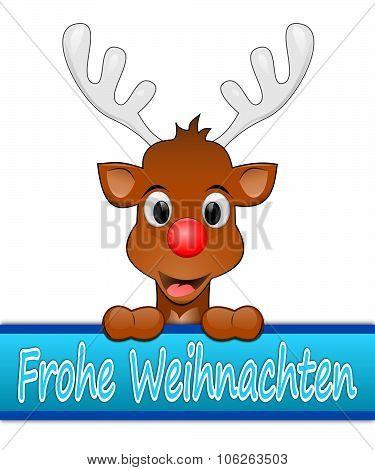 Reindeer wishing Merry Christmas in german
