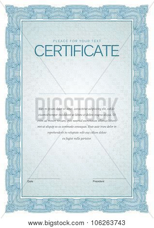 Vintage Certificate. Template Diplomas, Currency.