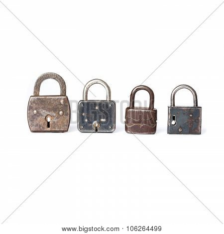 Different kinds padlocks with key hole. White background