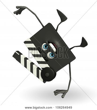Clapper Board Character With Hand Standing Pose