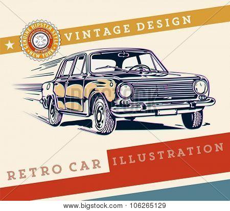 Vector. Retro car design