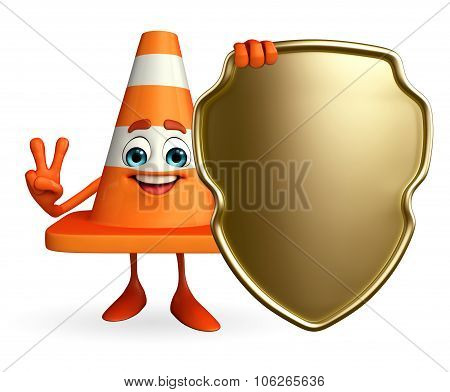 Construction Cone Character With Shield