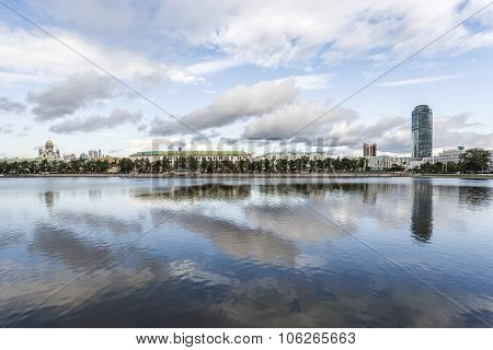 Yekaterinburg waterscape over lake Gorodskoy