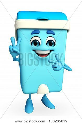 Dustbin Character With Victory Sign