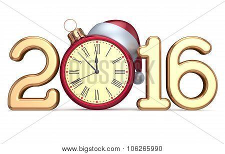 New Year's Eve 2016 Beginning Clock Santa Hat Christmas Ball