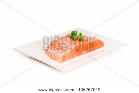 salmon fish fresh meat slice isolated on white background