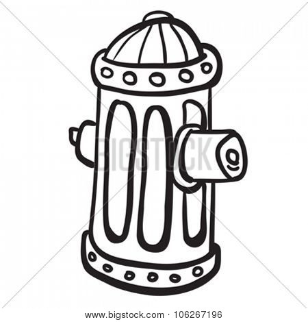 simple black and white fire hydrant cartoon