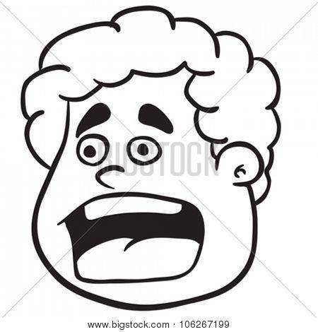 simple black and white fat boy scream cartoon