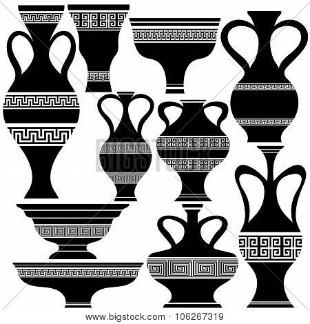 Set of Greek Amphora Silhouettes