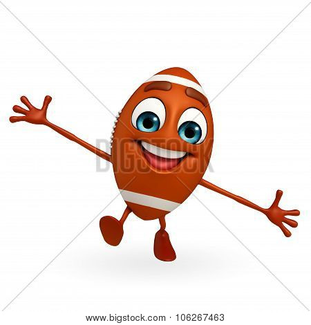 Rubgy Ball Character With Running Pose