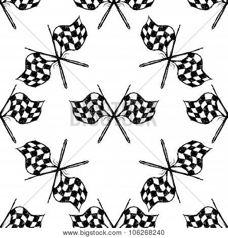 Seamless Pattern With Tribal Racing Checkered Flag