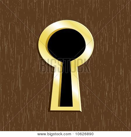 Door Keyhole Of Golden Metal