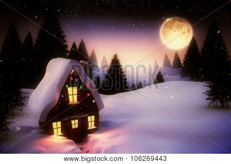 Digitally generated Full moon over snowy landscape and house
