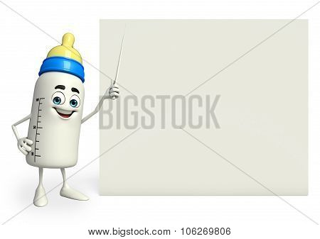 Baby Bottle Character With Sign