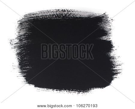 Watercolor Black Smear Isolated On White Background.