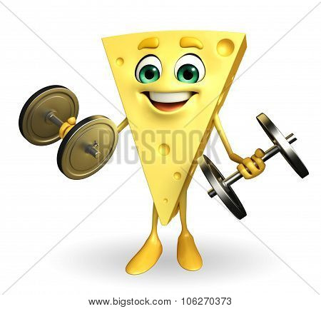 Cheese Character With Dumbells