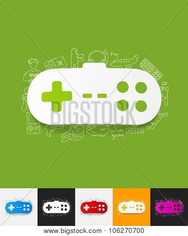 joystick paper sticker with hand drawn elements