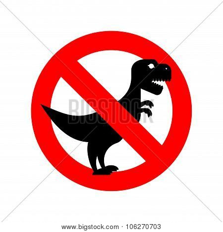 Stop Tyrannosaurus. Red Is Dangerous. Evil And Scary T-rex Dinosaur. Toothy Prehistoric Reptile. Ban