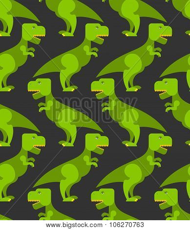 Tyrannosaurus T-rex Seamless Pattern. Background Of  Big Green Prehistoric Predator. Retro Texture O