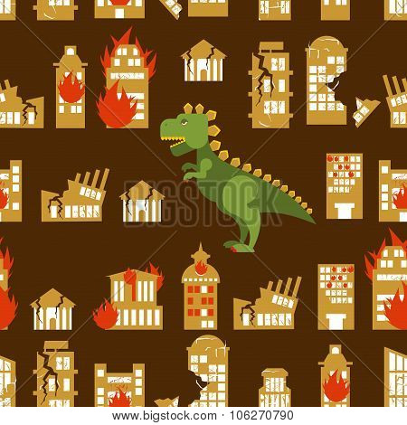 Monster destroys city. Street and House broken. Beast  in seamless pattern. Scary dinosaur destroyed
