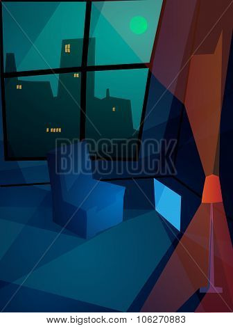 Lonely Flat Abstract Illustration