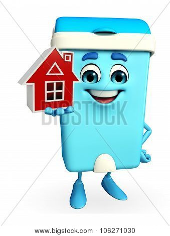Dustbin Character With Home