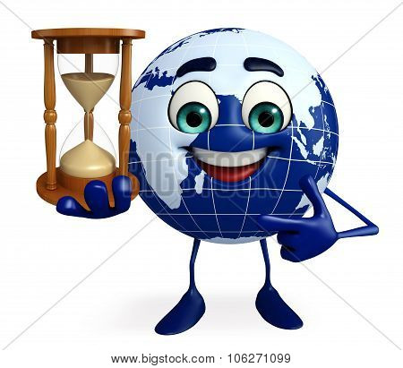 Globe Character With Sand Clock