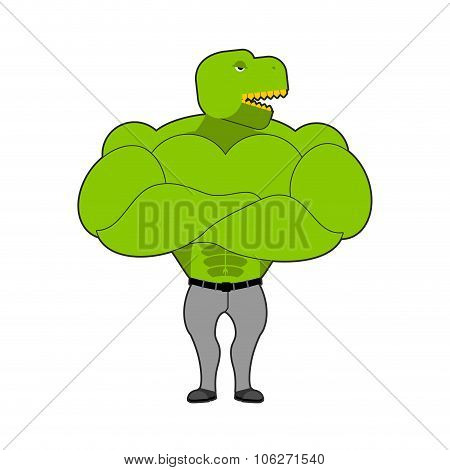 Strong Tyrannosaurus With Big Muscles. Dinosaur T-rex Bodybuilder. Prehistoric Animal In Jeans. Mons