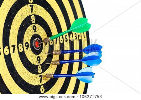 Dart board with javelin. Duel championship. Lucky shot center of the target. white background