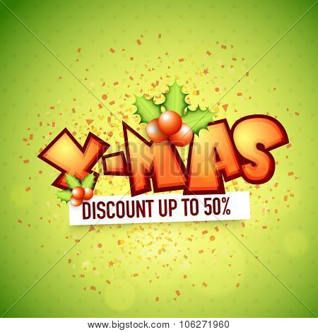 X-Mas Sale poster, banner or flyer design with 50% discount offer on shiny green background.