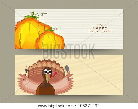 Happy Thanksgiving Day celebration website header or banner set with pumpkins and Turkey Bird.