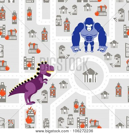 Monsters to destroy city seamless pattern. Angry dinosaur and Gorilla destroys building. Aggressive