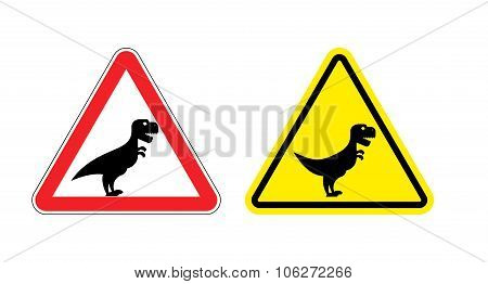 Attention Of Tyrannosaurus. Danger Sign. Cautious Spending T-rex Dinosaur. Angry And Scary Predator