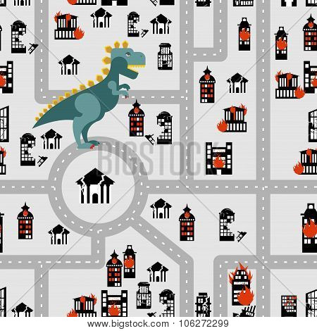Aggressive dinosaur destroys urban building seamless pattern. Angry Monster breaks city. Horrible be