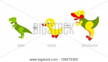 Dinosaur And Duck.  Dino-duck  - New Species Of Dinosaurs. Crossing Of Tyrannosaurus Rex And Aquatic