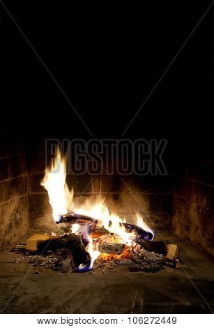 Relaxing at the fireplace on winter evening. Hearth place christmas postcard template