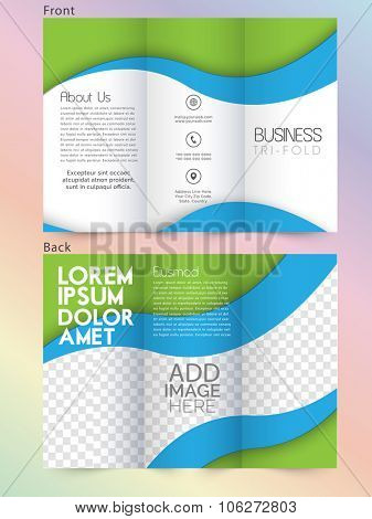 Front and back page presentation of professional Business Trifold, Flyer, Banner or Template design.