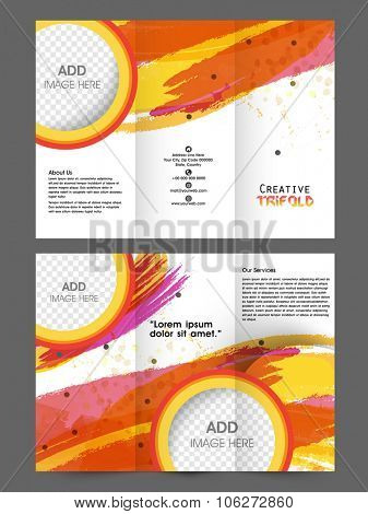 Creative professional Business Trifold, Flyer, Banner or Template with front and back page presentation.