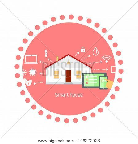Smart House Concept Icon Flat Design