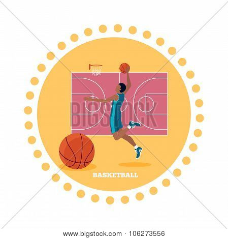 Basketball Sport Team Concept Icon Flat Design