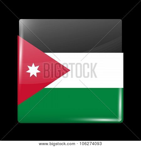 Flag Of Jordan. Glassy Icon Square Shape