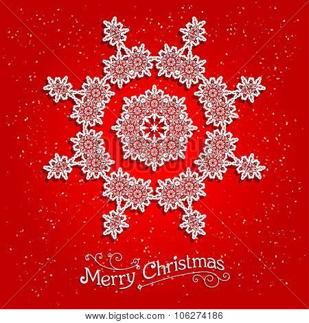 Holiday white snowflake on red background. Ornamental snowflake on red background.  Big holiday snowflake. Design for card, banner, invitation, leaflet and so on.
