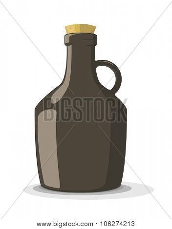 Vector illustration of dark bottle with cork, isolated on white background