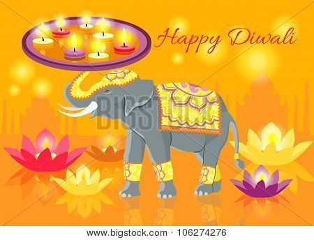 Happy Diwali Elephant Indian Celebrate