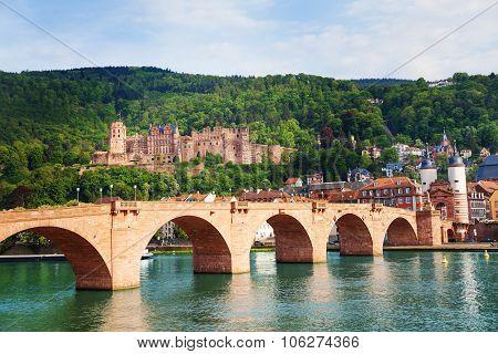 Alte Brucke, castle, Neckar river in Heidelberg